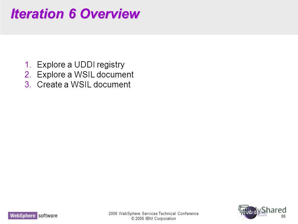 2006 WebSphere Services Technical Conference © 2006 IBM Corporation 88 Iteration 6 Overview 1. Explore a UDDI registry 2. Explore a WSIL document 3. Create a WSIL document