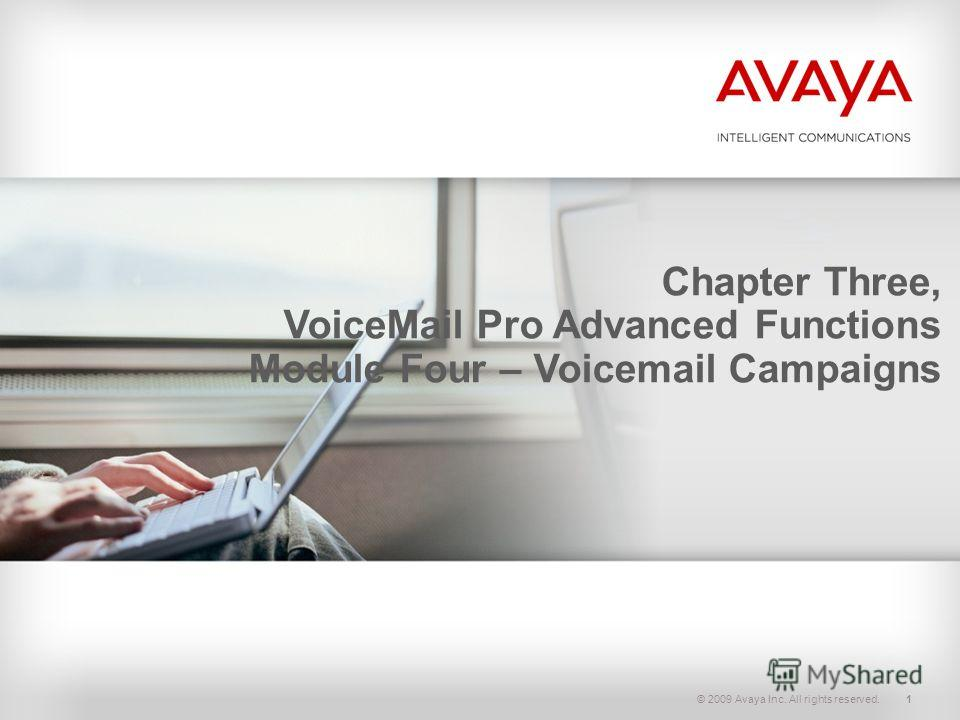 © 2009 Avaya Inc. All rights reserved.1 Chapter Three, VoiceMail Pro Advanced Functions Module Four – Voicemail Campaigns