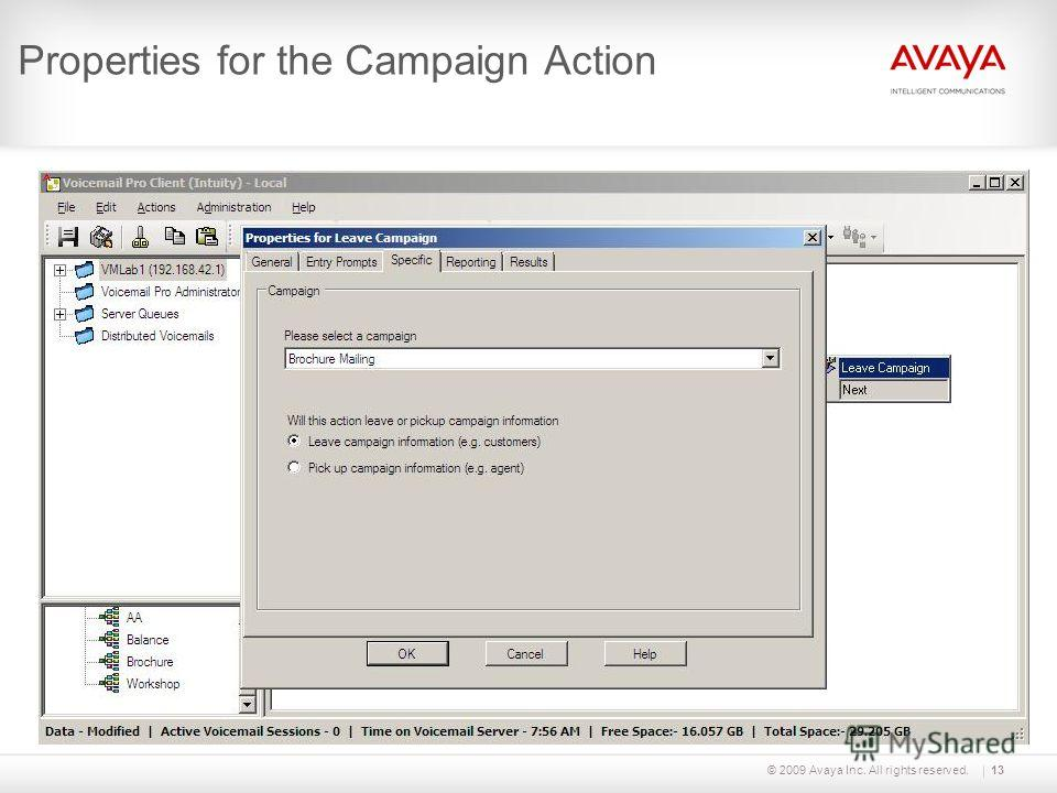 © 2009 Avaya Inc. All rights reserved.13 Properties for the Campaign Action