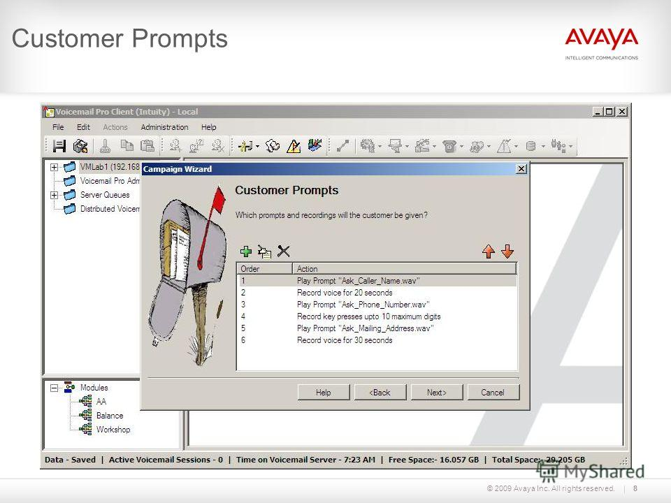 © 2009 Avaya Inc. All rights reserved.8 Customer Prompts