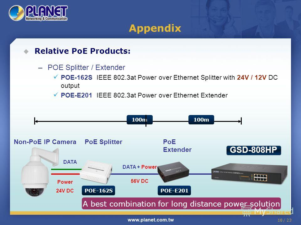 18 / 23 Appendix Relative PoE Products: –POE Splitter / Extender POE-162S IEEE 802.3at Power over Ethernet Splitter with 24V / 12V DC output POE-E201 IEEE 802.3at Power over Ethernet Extender Non-PoE IP CameraPoE Splitter DATA + Power 56V DC DATA Pow