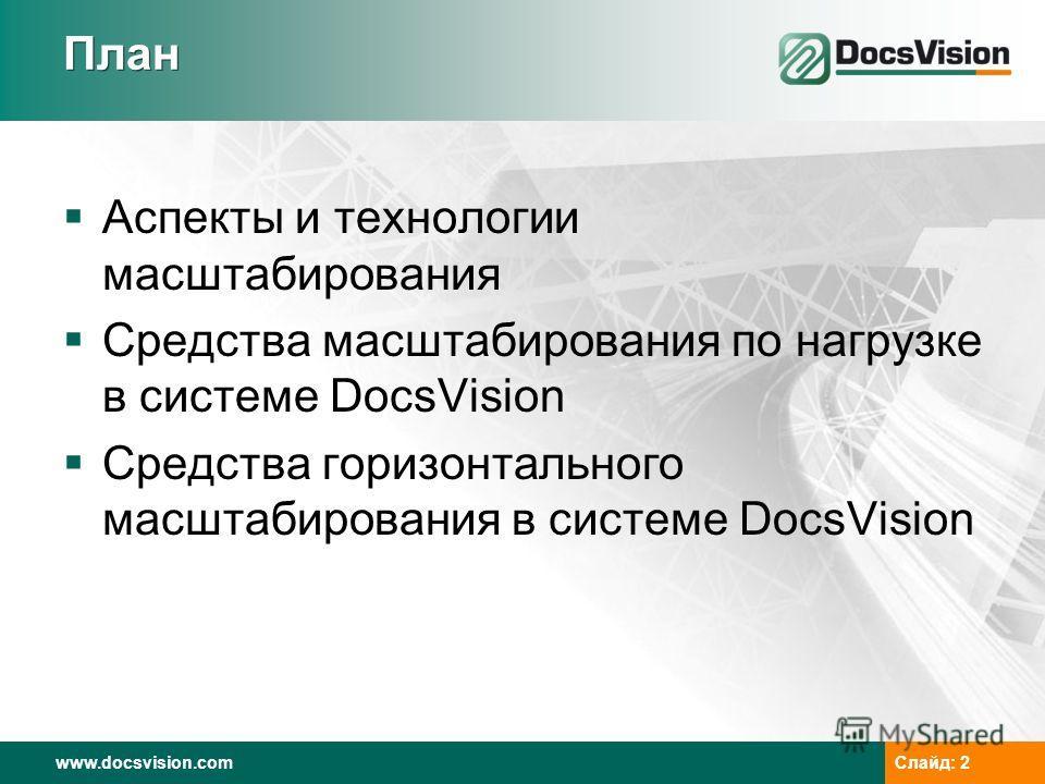 www.docsvision.com Слайд: 2 План Аспекты и технологии масштабирования Средства масштабирования по нагрузке в системе DocsVision Средства горизонтального масштабирования в системе DocsVision