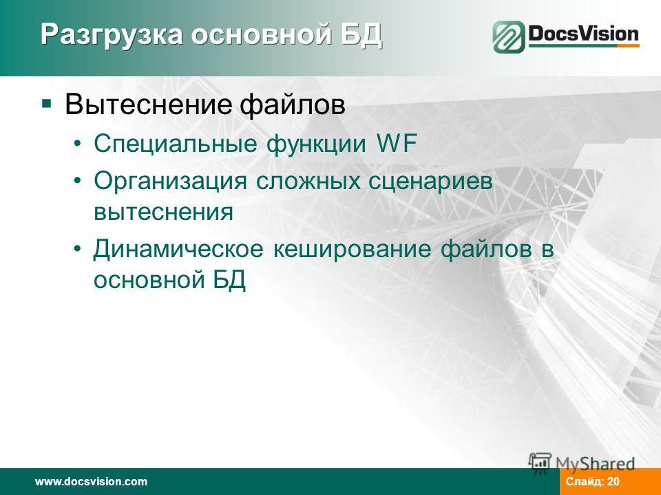 www.docsvision.com Слайд: 20 Разгрузка основной БД Вытеснение файлов Специальные функции WF Организация сложных сценариев вытеснения Динамическое кэширование файлов в основной БД