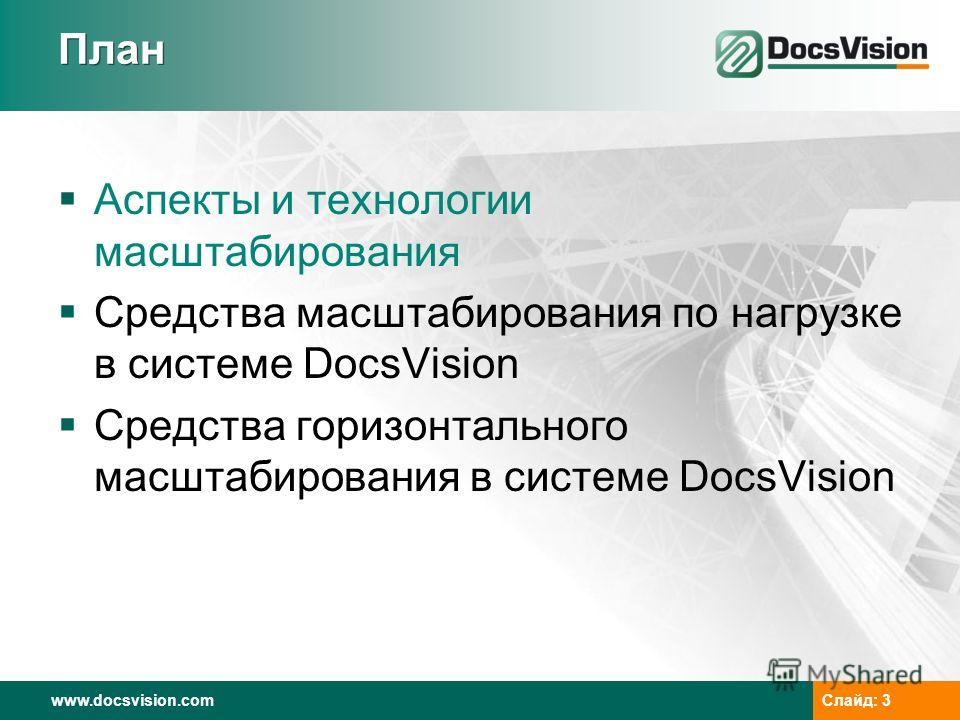 www.docsvision.com Слайд: 3 План Аспекты и технологии масштабирования Средства масштабирования по нагрузке в системе DocsVision Средства горизонтального масштабирования в системе DocsVision