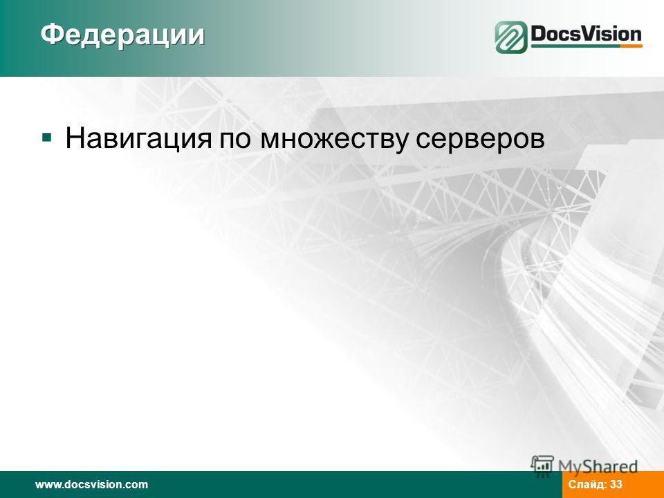 www.docsvision.com Слайд: 33 Федерации Навигация по множеству серверов