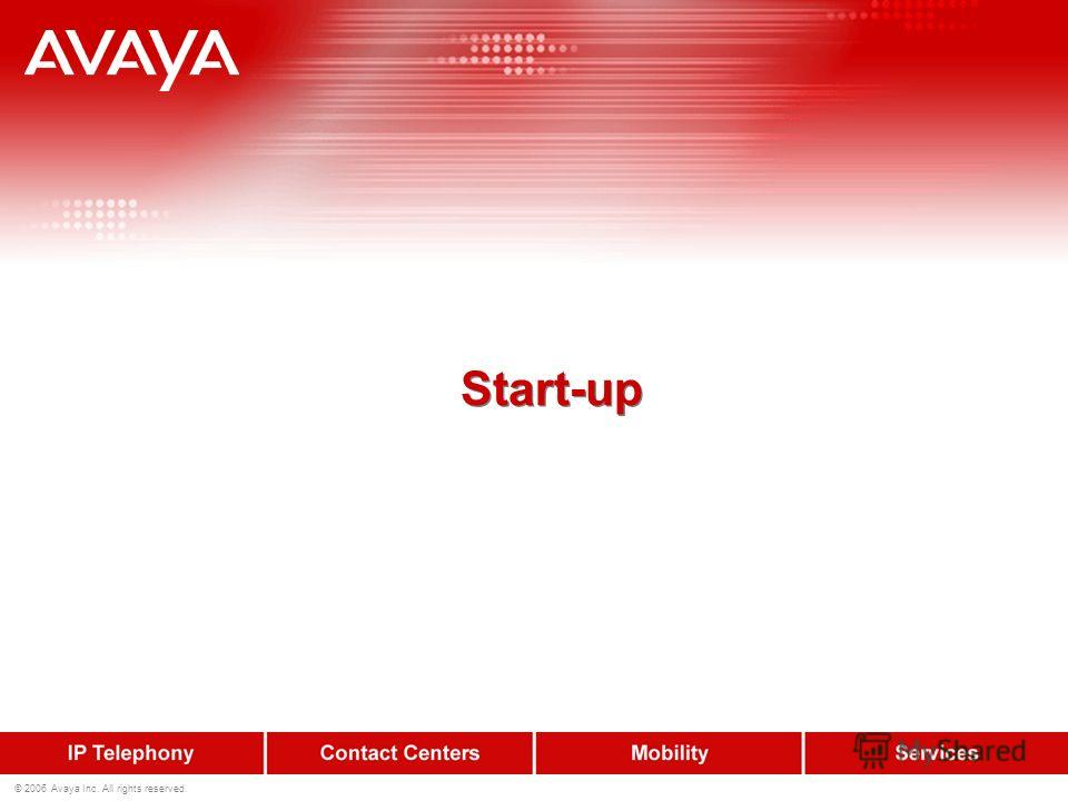 © 2006 Avaya Inc. All rights reserved. Start-up