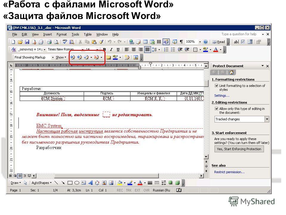 «Работа с файлами Microsoft Word» «Защита файлов Microsoft Word»