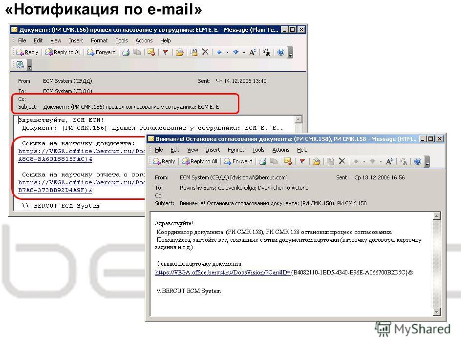 «Нотификация по e-mail»