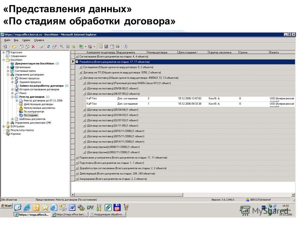 «Представления данных» «По стадиям обработки договора»