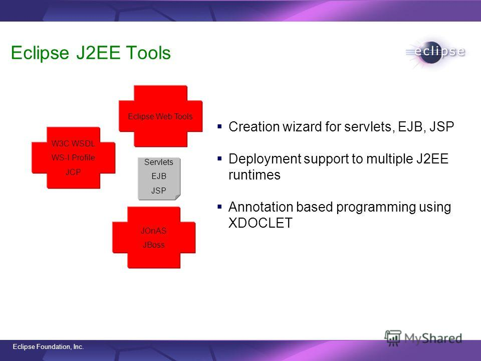 Eclipse Foundation, Inc. Eclipse J2EE Tools Creation wizard for servlets, EJB, JSP Deployment support to multiple J2EE runtimes Annotation based programming using XDOCLET W3C WSDL WS-I Profile JCP JOnAS JBoss Eclipse Web Tools Servlets EJB JSP