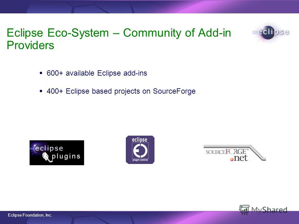 Eclipse Foundation, Inc. Eclipse Eco-System – Community of Add-in Providers 600+ available Eclipse add-ins 400+ Eclipse based projects on SourceForge www.eclipse-plugins.infowww.eclipseplugincentral.comwww.surceforge.net