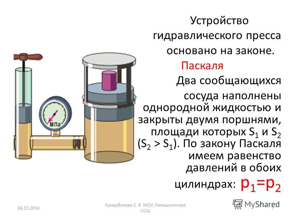 Устройство гидравлического пресса основано на законе. Паскаля Два сообщающихся сосуда наполнены однородной жидкостью и закрыты двумя поршнями, площади которых S 1 и S 2 (S 2 > S 1 ). По закону Паскаля имеем равенство давлений в обоих цилиндрах: p 1 =