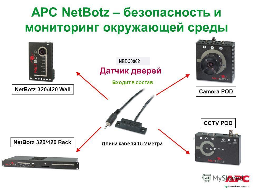 APC by Schneider Electric– Name – Date Camera POD CCTV POD NetBotz 320/420 Wall NetBotz 320/420 Rack Длина кабеля 15.2 метра Датчик дверей Входит в состав APC NetBotz – безопасность и мониторинг окружающей среды NBDC0002