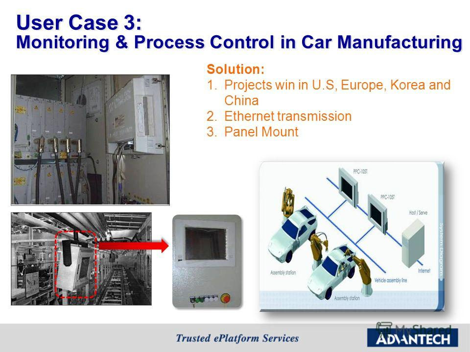 User Case 3: Monitoring & Process Control in Car Manufacturing Solution: 1. Projects win in U.S, Europe, Korea and China 2. Ethernet transmission 3. Panel Mount