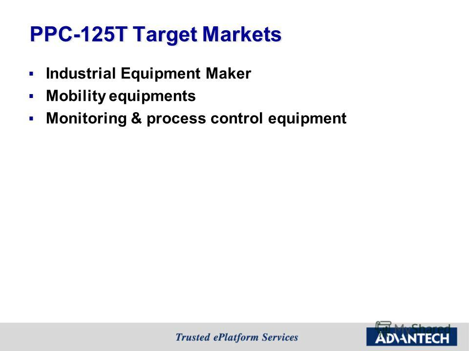 PPC-125T Target Markets Industrial Equipment Maker Mobility equipments Monitoring & process control equipment