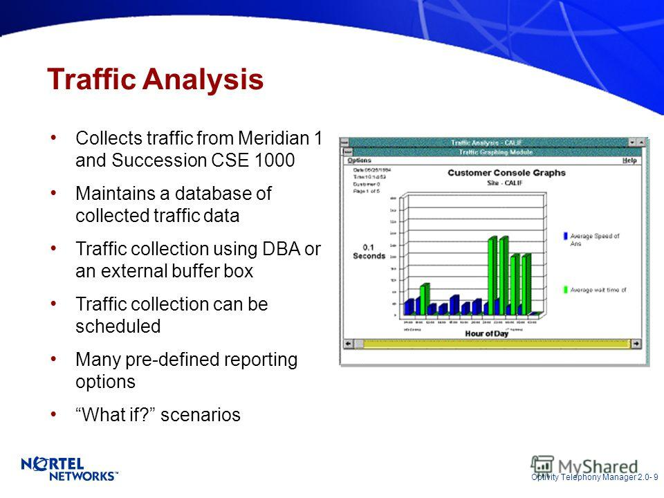 Optivity Telephony Manager 2.0- 9 Traffic Analysis Collects traffic from Meridian 1 and Succession CSE 1000 Maintains a database of collected traffic data Traffic collection using DBA or an external buffer box Traffic collection can be scheduled Many