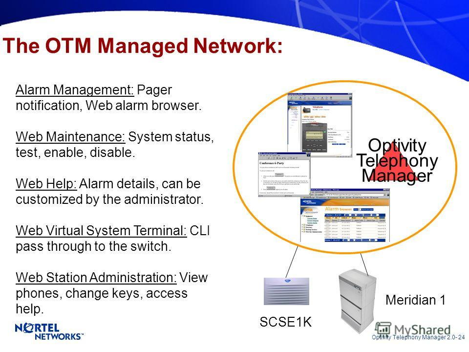 Optivity Telephony Manager 2.0- 24 The OTM Managed Network: Alarm Management: Pager notification, Web alarm browser. Web Maintenance: System status, test, enable, disable. Web Help: Alarm details, can be customized by the administrator. Web Virtual S