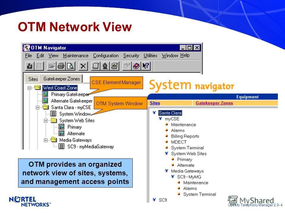 Optivity Telephony Manager 2.0- 4 OTM Network View CSE Element Manager OTM System Window OTM provides an organized network view of sites, systems, and management access points