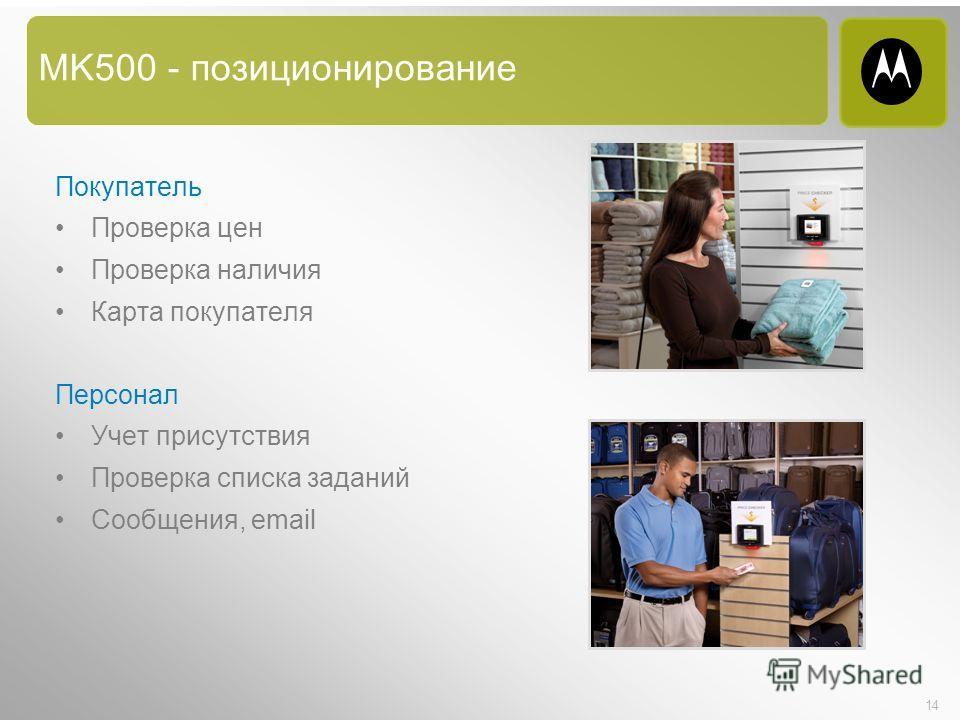 14 MK500 - позиционирование Покупатель Проверка цен Проверка наличия Карта покупателя Персонал Учет присутствия Проверка списка заданий Сообщения, email