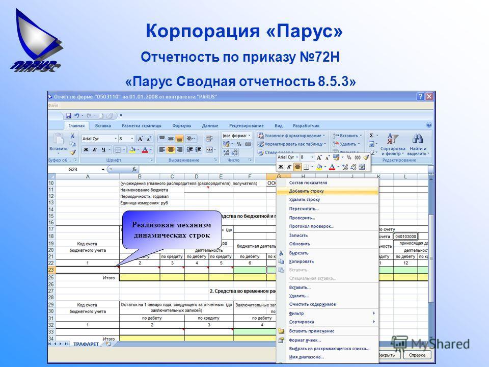 Корпорация «Парус» Отчетность по приказу 72Н «Парус Сводная отчетность 8.5.3» Реализован механизм динамических строк