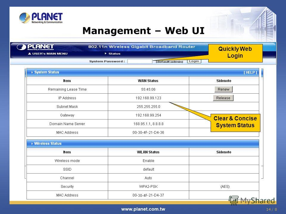14 / 8 Management – Web UI Quickly Web Login Setup in Wizard Mode (Step by Step) Clear & Concise System Status