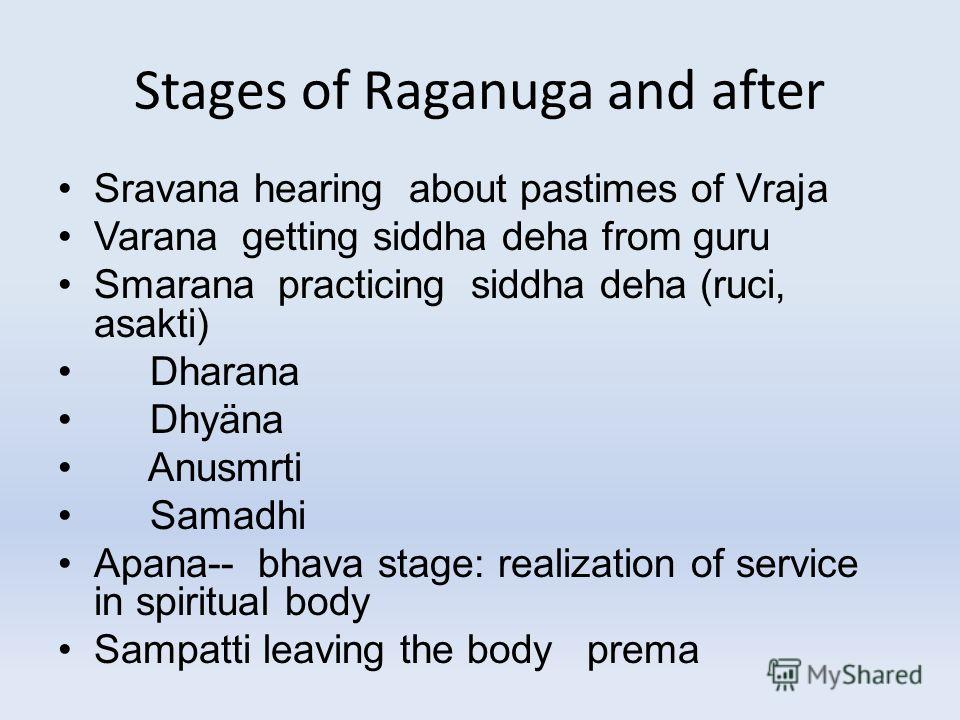 Stages of Raganuga and after Sravana hearing about pastimes of Vraja Varana getting siddha deha from guru Smarana practicing siddha deha (ruci, asakti) Dharana Dhyäna Anusmrti Samadhi Apana-- bhava stage: realization of service in spiritual body Samp