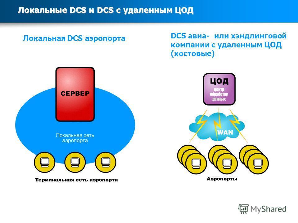 Локальные DCS и DCS с удаленным ЦОД Локальная DCS аэропорта DCS авиа- или хэндлинговой компании с удаленным ЦОД (хвостовые)