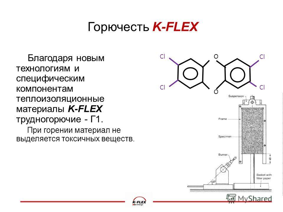 Горючесть K-FLEX Благодаря новым технологиям и специфическим компонентам теплоизоляционные материалы K-FLEX трудногорючие - Г1. При горении материал не выделяется токсичных веществ. Cl O O