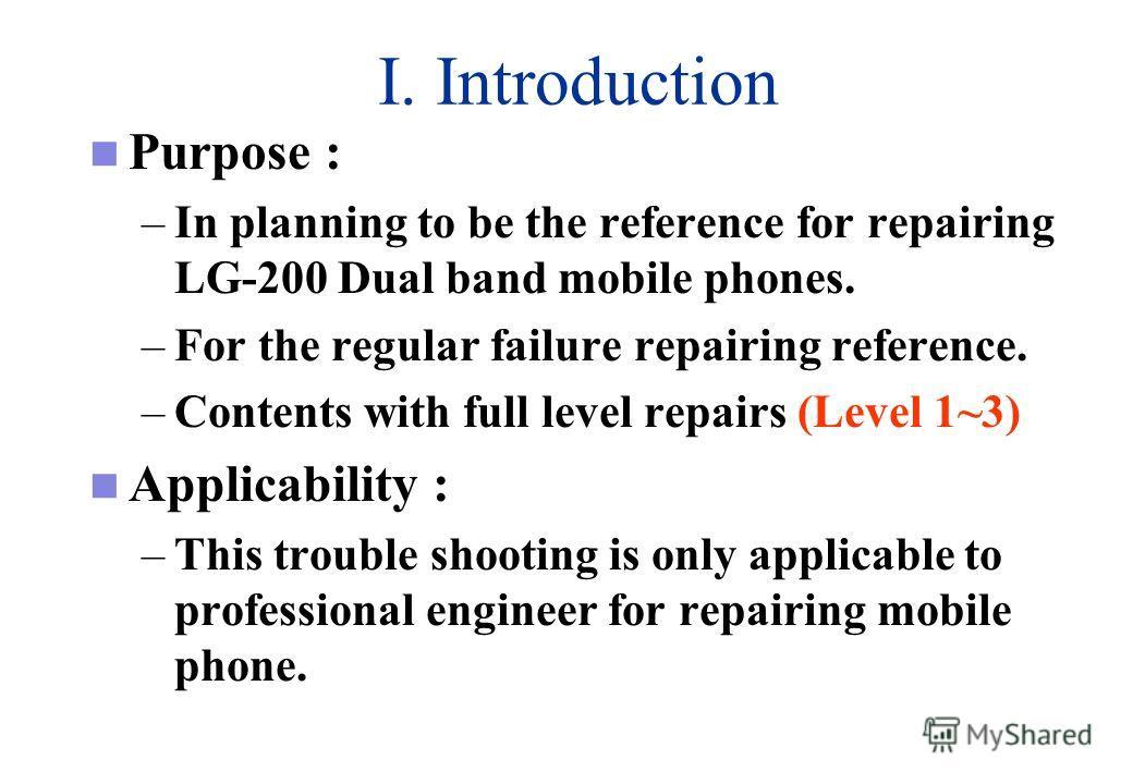 LG-200 Series Repair Trouble Shooting Level I ~ III VER.1.0