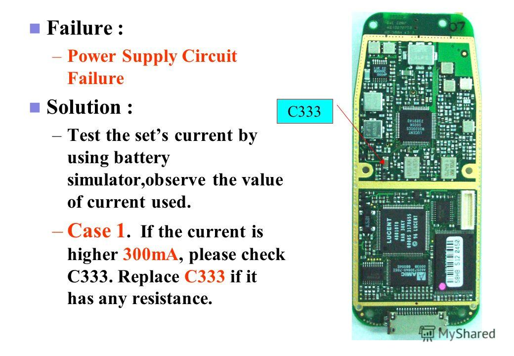 GSM Cell Phone Failure: –Long period of charging Battery. Solution: - Use Mutil-matter to check the voltage of pin4 of Q1 while charging, this point should be Low voltage. The failure could be coused by Q33, Q4 or Q1 if the voltage is abnormal. Q1 Q3