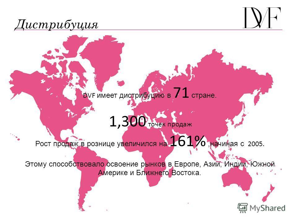 DVF имеет дистрибуцию в 71 стране. 1,300 точек продаж Рост продаж в рознице увеличился на 161%,начиная с 2005. Этому способствовало освоение рынков в Европе, Азии, Индии, Южной Америке и Ближнего Востока. Дистрибуция