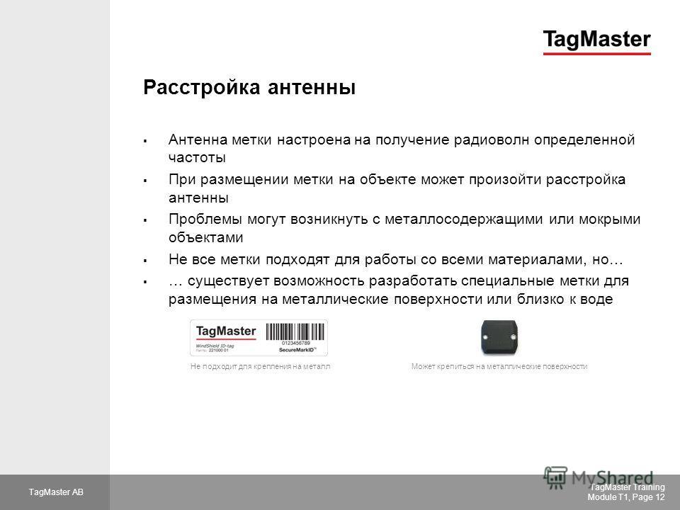 TagMaster AB TagMaster Training Module T1, Page 12 Расстройка антенны Антенна метки настроена на получение радиоволн определенной частоты При размещении метки на объекте может произойти расстройка антенны Проблемы могут возникнуть с металлосодержащим