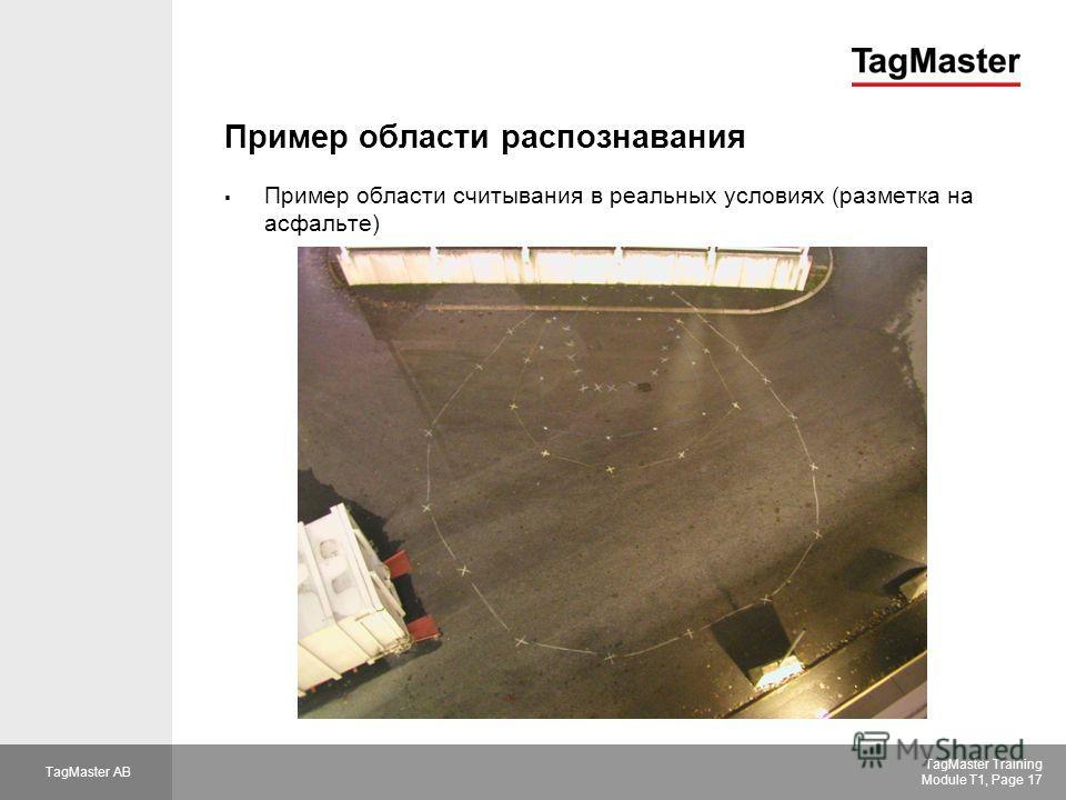 TagMaster AB TagMaster Training Module T1, Page 17 Пример области распознавания Пример области считывания в реальных условиях (разметка на асфальте)