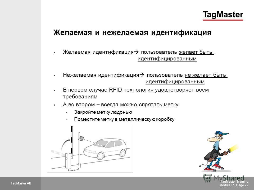 TagMaster AB TagMaster Training Module T1, Page 29 Желаемая и нежелаемая идентификация Желаемая идентификация пользователь желает быть идентифицированным Нежелаемая идентификация пользователь не желает быть идентифицированным В первом случае RFID-тех