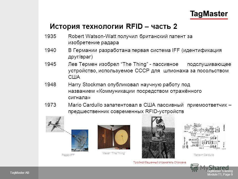 TagMaster AB TagMaster Training Module T1, Page 9 История технологии RFID – часть 2 1935Robert Watson-Watt получил британский патент за изобретение радара 1940В Германии разработана первая система IFF (идентификация друг/враг) 1945 Лев Термен изобрел