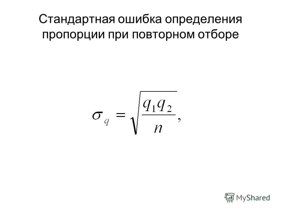 Стандартная ошибка определения пропорции при повторном отборе
