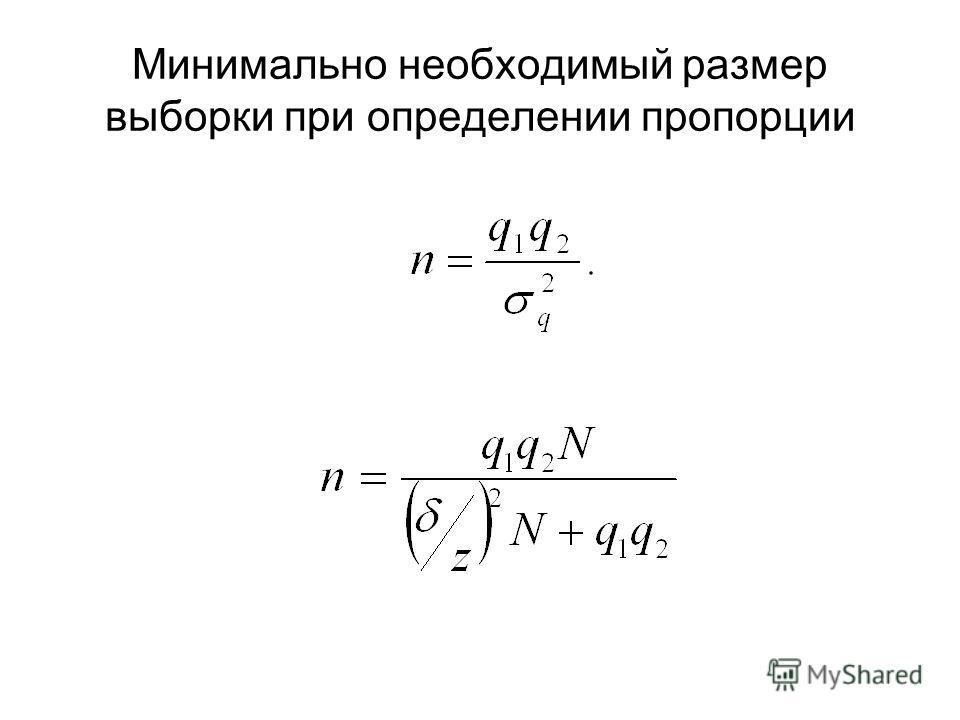 Минимально необходимый размер выборки при определении пропорции