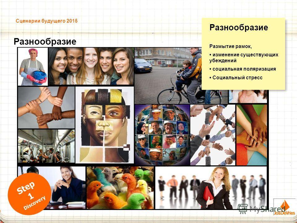 Сценарии будущего 2015 Разнообразие Размытие рамок, изменение существующих убеждений социальная поляризация Социальный стресс Step 1 Discovery
