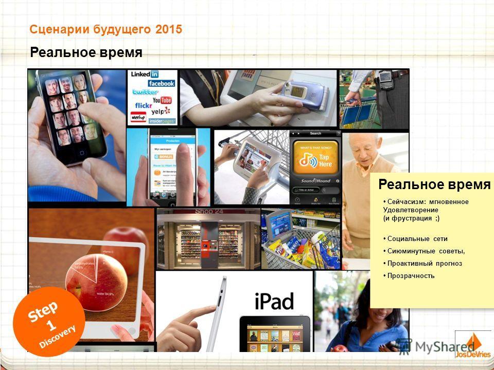 Реальное время Сейчасизм: мгновенное Удовлетворение (и фрустрация ;) Социальные сети Сиюминутные советы, Проактивный прогноз Прозрачность Реальное время Step 1 Discovery Сценарии будущего 2015
