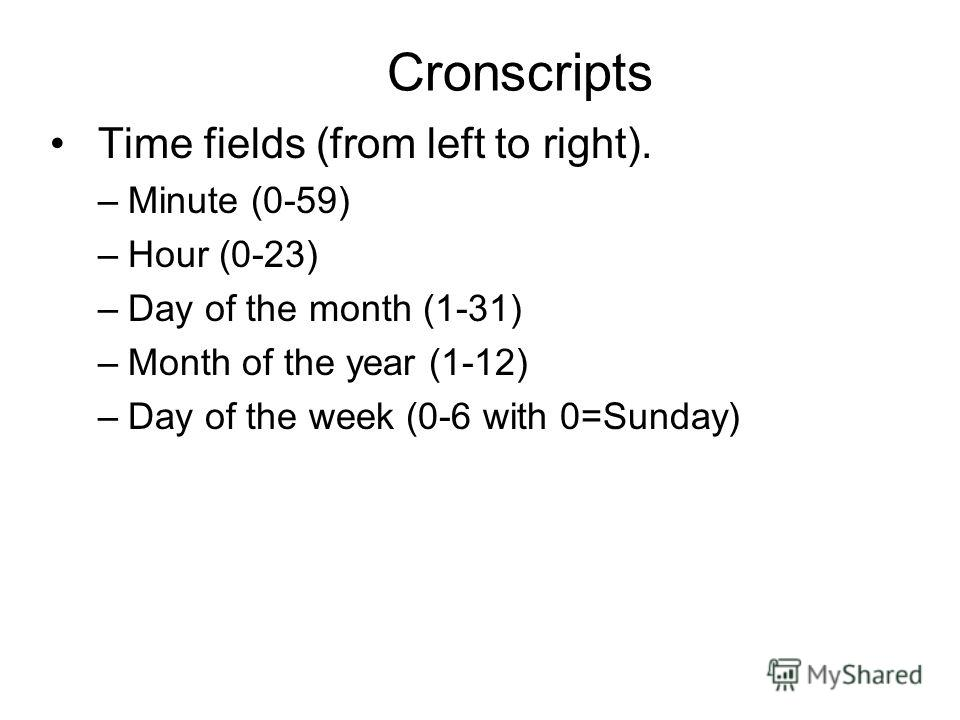 Cronscripts Time fields (from left to right). –Minute (0-59) –Hour (0-23) –Day of the month (1-31) –Month of the year (1-12) –Day of the week (0-6 with 0=Sunday)