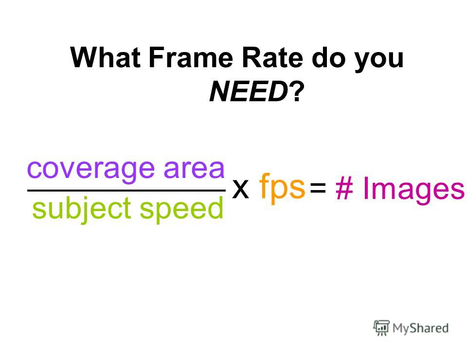 What Frame Rate do you NEED? = # Images subject speed x fps coverage area