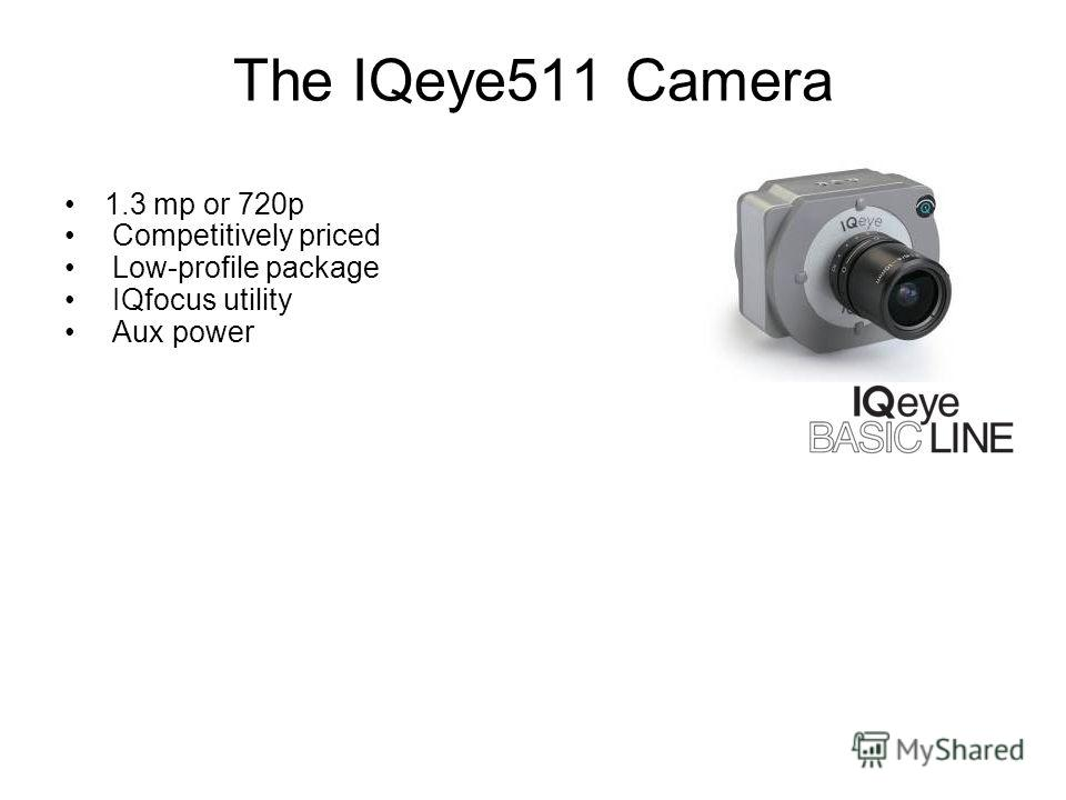 The IQeye511 Camera 1.3 mp or 720p Competitively priced Low-profile package IQfocus utility Aux power