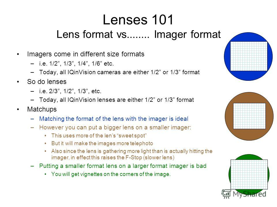Lenses 101 Lens format vs........ Imager format Imagers come in different size formats –i.e. 1/2, 1/3, 1/4, 1/6 etc. –Today, all IQinVision cameras are either 1/2 or 1/3 format So do lenses –i.e. 2/3, 1/2, 1/3, etc. –Today, all IQinVision lenses are