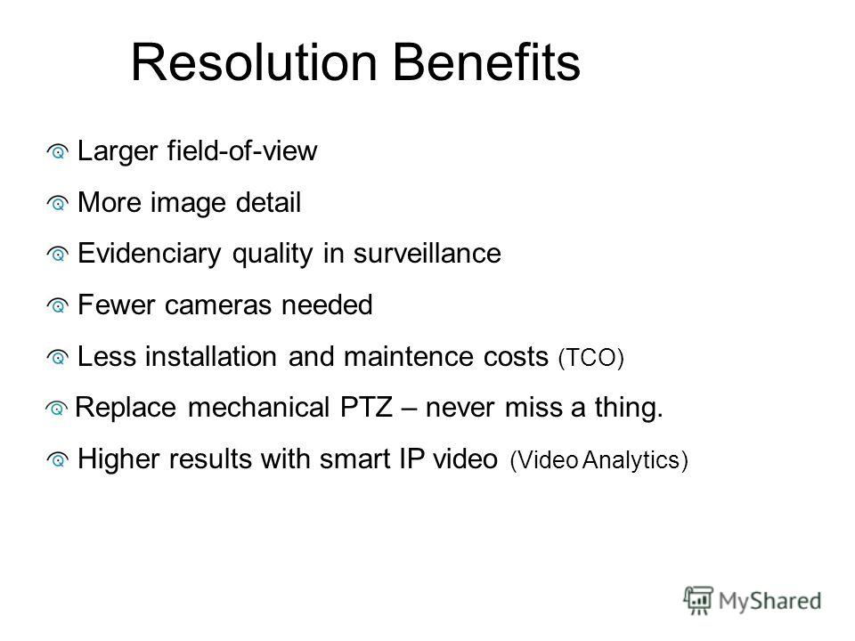 Resolution Benefits Larger field-of-view More image detail Evidenciary quality in surveillance Fewer cameras needed Less installation and maintence costs (TCO) Replace mechanical PTZ – never miss a thing. Higher results with smart IP video (Video Ana