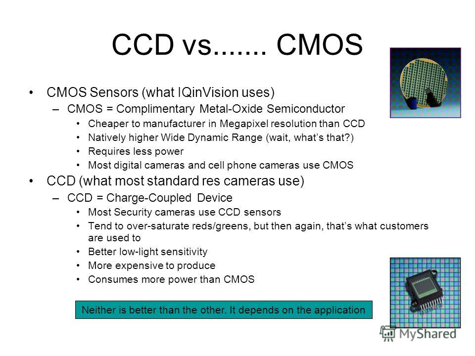 CCD vs....... CMOS CMOS Sensors (what IQinVision uses) –CMOS = Complimentary Metal-Oxide Semiconductor Cheaper to manufacturer in Megapixel resolution than CCD Natively higher Wide Dynamic Range (wait, whats that?) Requires less power Most digital ca