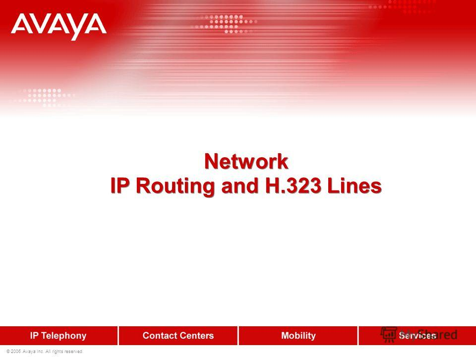 © 2006 Avaya Inc. All rights reserved. Network IP Routing and H.323 Lines Network IP Routing and H.323 Lines