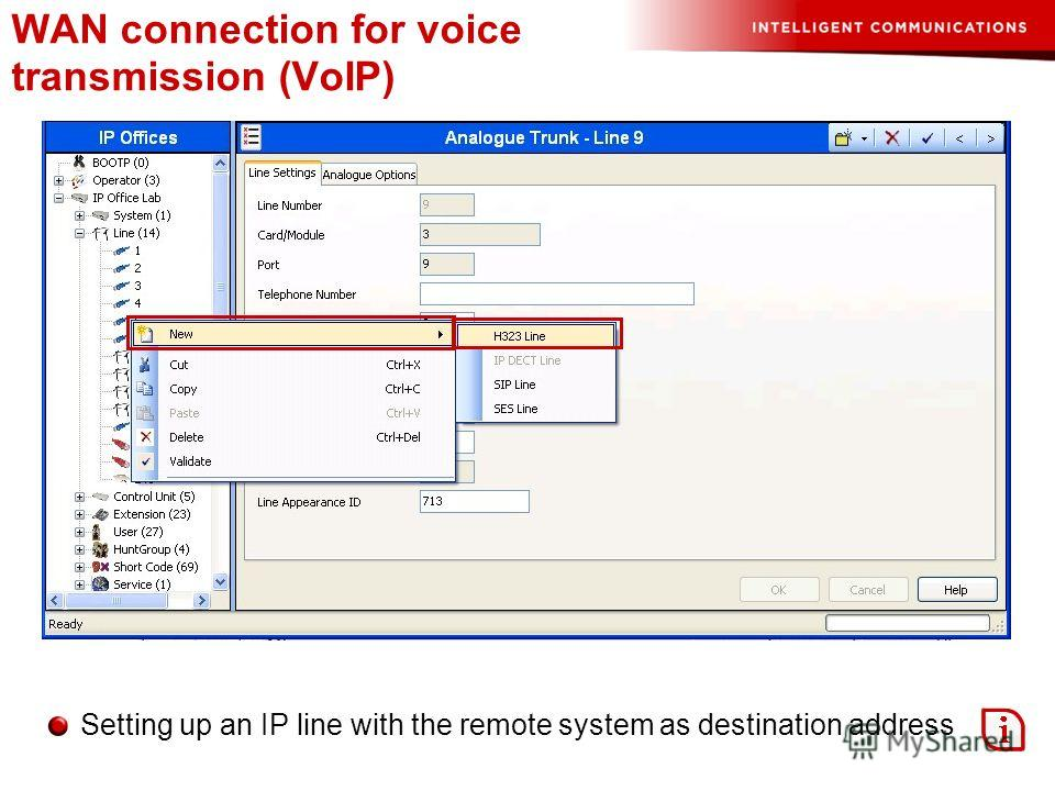 WAN connection for voice transmission (VoIP) Setting up an IP line with the remote system as destination address