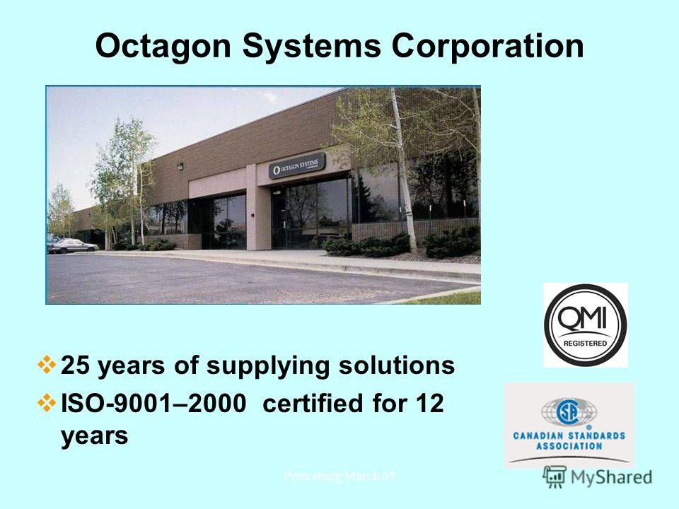 Petersburg March 051 Octagon Systems Corporation 25 years of supplying solutions ISO-9001–2000 certified for 12 years