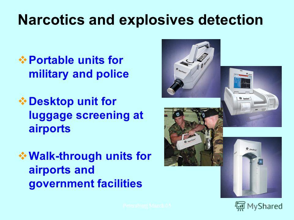 Petersburg March 0512 Narcotics and explosives detection Portable units for military and police Desktop unit for luggage screening at airports Walk-through units for airports and government facilities