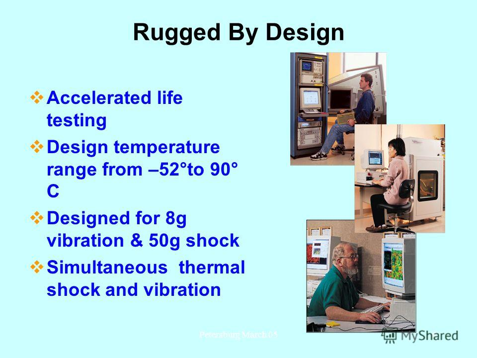 Petersburg March 056 Rugged By Design Accelerated life testing Design temperature range from –52°to 90° C Designed for 8g vibration & 50g shock Simultaneous thermal shock and vibration